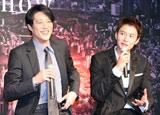 映画『プリンセス トヨトミ』の完成披露会見に出席した(左から)堤真一、岡田将生