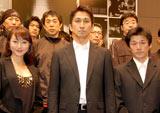 『北区つかこうへい劇団』の解散公演第2弾『ALL THAT 飛龍伝』の制作発表会見に出席した(左から)渋谷亜希、神尾佑、吉田智則