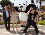 映画『カンフー・パンダ2』の声優を務める(左から)ダスティン・ホフマン、アンジェリーナ・ジョリー、ジャック・ブラック