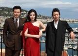 カンヌで映画『マイウェイ』の製作記者会見を行った(左から)チャン・ドンゴン、ファン・ビンビン、オダギリジョー (C)Kazuko Wakayama