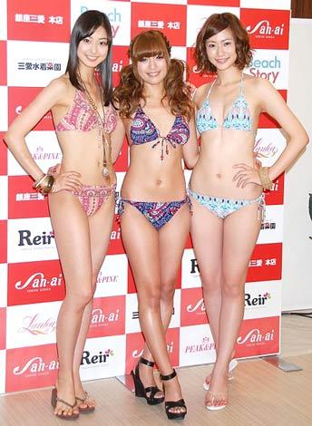 サムネイル 新作水着ファッションショーを行った(左から)尾花貴絵、北川富紀子、西田有沙 (C)ORICON DD inc.