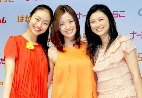 ディップの新CM発表会に出席した(左から)忽那汐里、上戸彩、菊川怜 (C)ORICON DD inc.