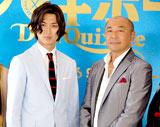 新ドラマ『ドン★キホーテ』(日本テレビ系)の製作発表記者会見に出席した主演の松田翔太(左)と高橋克実