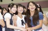 NMB48の選抜メンバーに抜擢され喜ぶ2期生の(左から)矢倉楓子、城恵理子、與儀ケイラ