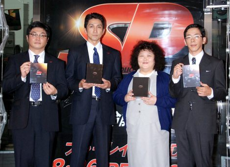 映画『SP 革命篇』『革命前日』のDVD&Blu-ray発売記念イベントに出席した(左から)松尾諭、神尾佑、平田敦子、野間口徹 (C)ORICON DD inc.