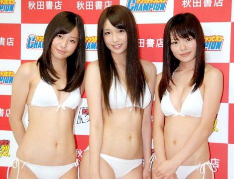 サムネイル 『ミスヤングチャンピオン2011』グランプリに選ばれた(左から)堀川美加子、菅原梨央、松嶋ののか (C)ORICON DD inc.