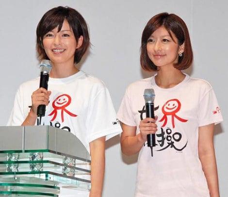 フジテレビ系で放送される『世界体操 東京2011』の番組発表会に出席した、応援団の(左から)中野美奈子、生野陽子アナウンサー (C)ORICON DD inc.