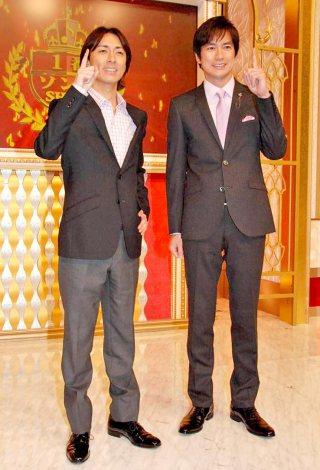 日本テレビの新番組『1番ソングSHOW』の収録に臨んだ(左から)ナインティナイン・矢部浩之、羽鳥慎一アナウンサー (C)ORICON DD inc.