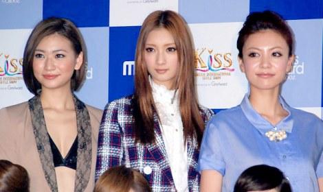 初の日韓合同ファッションイベント『Kiss(KOREAN INTERNATIONAL STYLE SHOW)』の記者会見に出席した(左から)西田有沙、菜々緒、菅原沙樹 (C)ORICON DD inc.