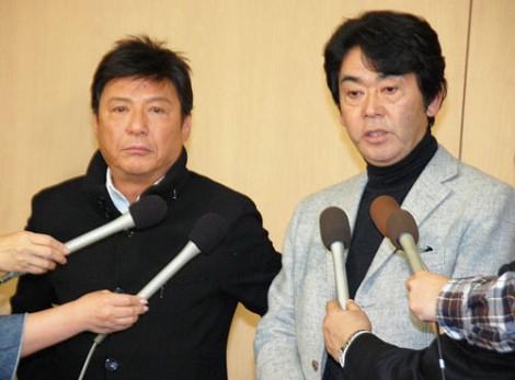 北公次さんの訃報を受け、緊急会見を行ったフォーリーブスの(左から)江木俊夫、おりも政夫 (C)ORICON DD inc.