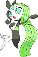 新たに見つかった幻のポケモン「メロエッタ」。ぶんるい:せんりつポケモン タイプ:ノーマル・エスパー とくせい:てんのめぐみ たかさ:0.6m おもさ:6.5kg  (C)Nintendo・Creatures・GAME FREAK・TV Tokyo・ShoPro・JR Kikaku (C)Pok?mon (C)2012 ピカチュウプロジェクト