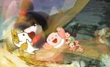 NHKの新番組『リトル・チャロ東北編』4月14 日第2話「きずな」のワンシーン。チャロは座敷わらしのマコと仲良くなり、村の子どもたちとお札探しをすることに(C)NHK・NHKエデュケーショナル