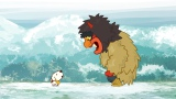 NHKの新番組『リトル・チャロ東北編』4 月21 日 第3話「雪の恋」のワンシーン。雪深い秋田の男鹿三山を訪れたチャロは、鬼のマゲと出会う(C)NHK・NHKエデュケーショナル