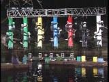 『さんまのナンでもダービー』の場面写真より 池の上の我慢レースの模様(写真提供:テレビ朝日)