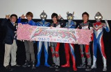 当日の登壇者(左から)おかひでき監督、杉浦太陽、ウルトラマンコスモス、DAIGO、ウルトラマンゼロ、つるの剛士、ウルトラマンダイナ (C)ORICON DD inc.