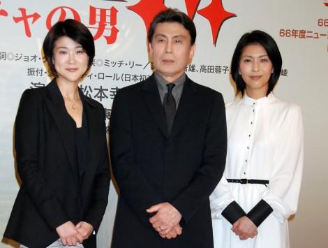 ミュージカル『ラ・マンチャの男』製作発表記者会見に出席した(左から)松本紀保、松本幸四郎、松たか子 (C)ORICON DD inc.