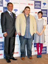 海外ドラマ『ALCATRAZ/アルカトラズ』記者発表会に出席した(左から)清原和博、初来日したホルヘ・ガルシア、忽那汐里 (C)ORICON DD inc.