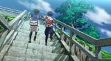 階段を登る主人公とライバルによるワンシーン (C)2012 Pokemon. (C)1995-2012 Nintendo/Creatures Inc./GAME FREAK inc.