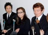 長良じゅん会長の本葬に参列した(左から)萩野崇、大信田礼子、ささきいさお (C)ORICON DD inc.