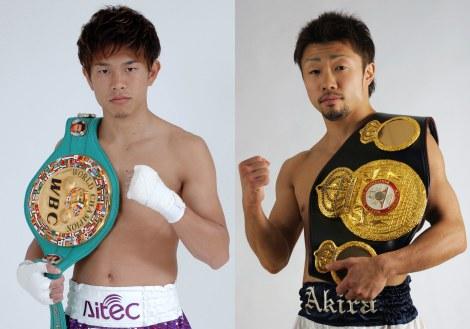 日本人同士によるボクシング世界ミニマム級王座統一戦に臨んだ井岡一翔(左)、八重樫東(右)