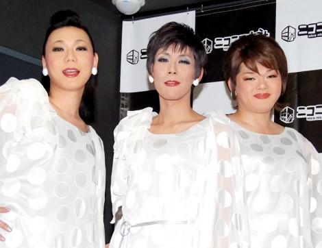 CDデビューイベントを行った星屑スキャット(左からミッツ・マンブローブ、ギャランティーク和恵、メイリー・ムー) (C)ORICON DD inc.