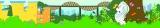 """マーライオン像""""お色直し""""の間、工事用フェンスに描かれているイレーン・チャン氏によるイラスト「マーライオンの休日」"""