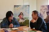 初の対談風景(左から)細田守監督と杉井ギサブロー監督