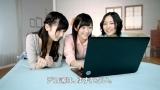 新CM『HP デカ薄ウルトラ』篇に出演する(左から)AKB48の島崎遥香、渡辺麻友、AKB兼任のSKE48松井珠理奈