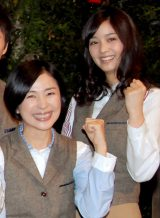 NHKコント番組『LIFE! 〜人生に捧げるコント〜』の記者会見に出席した(左から)西田尚美、石橋杏奈 (C)ORICON DD inc.
