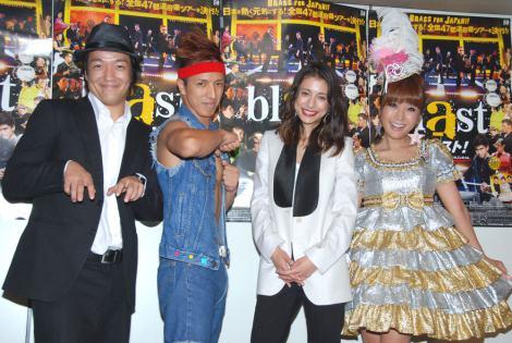 『ブラスト!』東京公演の初日ステージを観賞した(左から)お笑いコンビ・2700、マリエ、はるな愛 (C)ORICON DD inc.