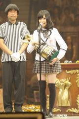 AKBの『第3回じゃんけん大会』で見事女王に輝いた島崎遥香(撮影:鈴木かずなり)