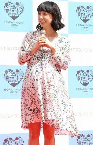 出産まであと1ヶ月となった東尾理子=東京・銀座フリーWi-Fi地域『G FREE』完成式典