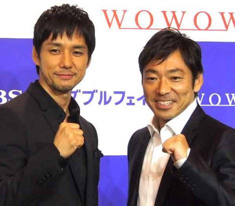TBSとWOWOWの共同制作ドラマ『ダブルフェイス』の記者会見に出席した(左から)西島秀俊、香川照之 (C)ORICON DD inc.