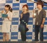 『ガールズケイリン・サインボード点燈式inラ・ピスタ新橋』に出席したmihimaru GT・hiroko、miyake (C)ORICON DD inc.