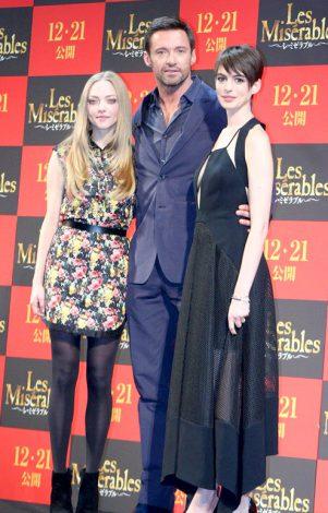 映画『レ・ミゼラブル』の来日スペシャルイベントに出席した(左から)アマンダ・セイフライド、ヒュー・ジャックマン、アン・ハサウェイ (C)ORICON DD inc.