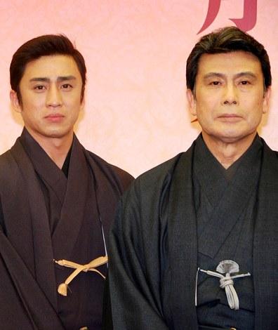 『二月大歌舞伎』の製作発表記者会見に出席した(左から)市川染五郎、松本幸四郎 (C)ORICON DD inc.