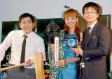 ブルーレイ&DVD『プロメテウス』発売記念イベントに出席した神田うの(中央)とハマカーン(左が浜谷健司、右が神田伸一郎) (C)ORICON DD inc.
