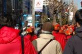 秋葉原の街中を歩くキノコたち。