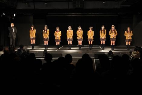 (写真左より)桑原みずき、高田志織、平松可奈子、矢神久美、赤枝里々奈、小木曽汐莉、上野圭澄、原望奈美、小林絵未梨