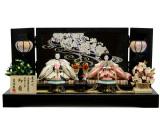 屏風にLEDライトが付いたひな人形『夜桜流水LED屏風親王飾り』