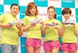 『チヨダランニングシューズ』発表会に出席した(左から)スギちゃん、西山茉希、中村アン、弥香 (C)ORICON DD inc.