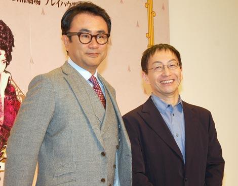 舞台『おのれナポレオン』の制作発表記者会見に出席した三谷幸喜(左)と野田秀樹 (C)ORICON DD inc.