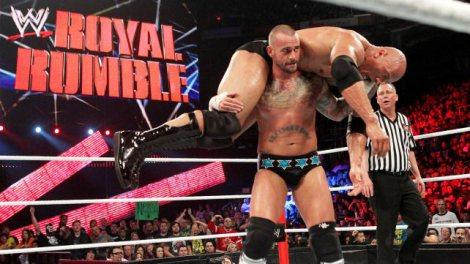 WWE1月恒例のPPVイベント『ロイヤルランブル2013』WWE王座戦 王者CMパンクvs挑戦者ザ・ロック (C)2013 WWE,Inc.  All Rights Reserved.