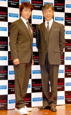 WOWOWの連続ドラマW『レディ・ジョーカー』の舞台挨拶に出席した(左から)上川隆也、柴田恭兵 (C)ORICON DD inc.