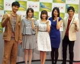 NHK語学番組レギュラー発表記者会見に出席した(左から)KENCHI(EXILE)、坂下千里子、小林麻耶、真飛聖、高橋光臣 (C)ORICON DD inc.