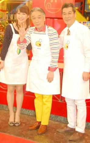放送開始900回を迎える人気料理番組『チューボーですよ!』の取材に応じた(左から)枡田絵理奈アナ、堺正章、井上順 (C)ORICON DD inc.