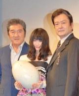 映画『恐竜を掘ろう』の完成披露舞台あいさつに出席した松方弘樹、小野花梨、大和田伸也 (C)ORICON DD inc.