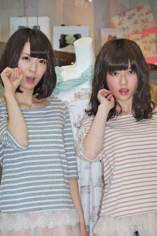 (左)AKB48菊地あやかと島崎遥香=『WILLSELECTION-ウィルセレクション-』の新CM発表会 (C)ORICON DD inc.