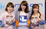 映画「舟を編む」PRのため、東京・六本木のオリコンを来社した(左から)松丸友紀アナ、秋元玲奈アナ、紺野あさ美アナ (C)ORICON NewS inc.