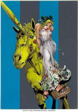 GUCCIのショップウィンドウにデザインされた荒木飛呂彦氏の作品『徐倫、GUCCIで飛ぶ』